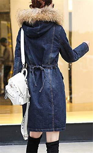 Parka Botones Bolsillos Capa Invierno Vintage Mujer Outerwear De Manga Casual Otoño Larga Retro Con Moda Sintética Cierre Mezclilla Elegante Chaquetas Azul Chaqueta Capucha Piel Cuello wxq7qvFaT