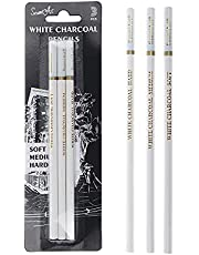3 Pieces Artists Sketching Soft/Medium/Hard 4MM Core White Highlight Charcoal Pencils Set for Professionals Limners Students Beginners Shading Drawing Blending Painting Coloring School Art Supplies