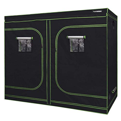 VIVOSUN 96x48x80 Mylar Hydroponic Grow Tent with Observation Window and Floor Tray for Indoor Plant Growing 4x8
