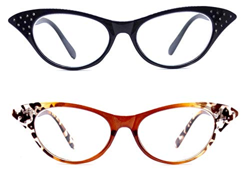 2 Pack Women Classic Fashionable Designer Clear Cat Eyes Reading Glasses Readers + Free Hard Case (2 Pack, 1.0)