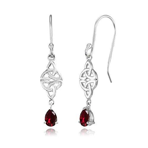 Ruby Celtic - Sterling Silver Created Ruby Celtic Trinity Knot Teardrop Dangle Drop Earrings
