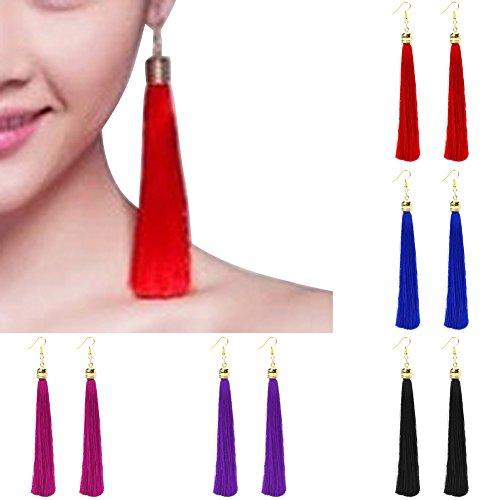 BYNNIX Tassel Earrings, 5 Pairs Long Thread Statement Earrings Fringe Dangle Drop Earring For Women Girls Jewelry - Mixed Colors Red Tassel Fringe