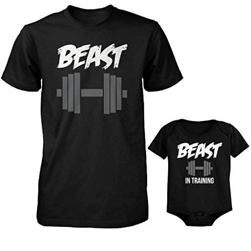 Baby Onesie T-shirt (Daddy and Baby Matching T-Shirt and Baby Onesie Set - Beast and Beast in Training (DAD-M / BABY-12M))