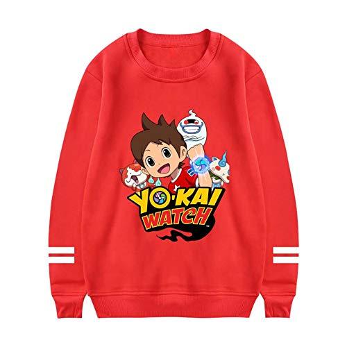 Women Round Neck Sweater Logo-Yo-Kai Watch Long Sleeve Sweatshirts Red M -
