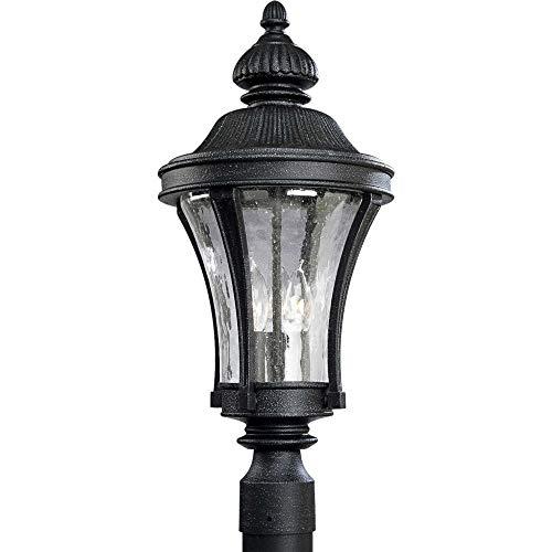 Progress Lighting P5438 Nottington Three-Light Post Lantern with Water Glass Pan, Gilded Iron