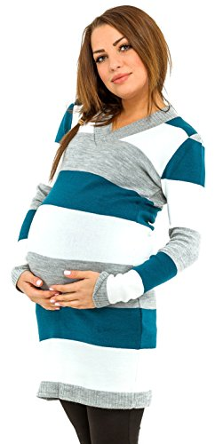 Happy Mama Womens Maternity Stretch Knit Colour Block Jumper Dress Stripes. 405p (Aqua, ONE SIZE US (Aqua Stretch Dress)