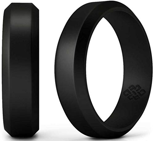 Knot Theory Silicone Wedding Ring for Men Black 6mm - Size 11 Rubber Wedding Rings Band - Ideal Athletic Husband Gifts from Wife - Enhanced Style, Safety, Comfort for Gym, Work, Sports, Travels ()