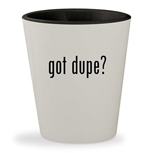 got dupe? - White Outer & Black Inner Ceramic 1.5oz Shot Glass