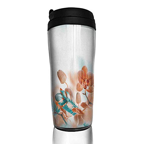 coffee cups holder Tropical,Tropical Orchids Blossom Leaves on Blurred Background Floral Themed Modern Art, Orange Teal 12 oz,silicone lid for coffee cup