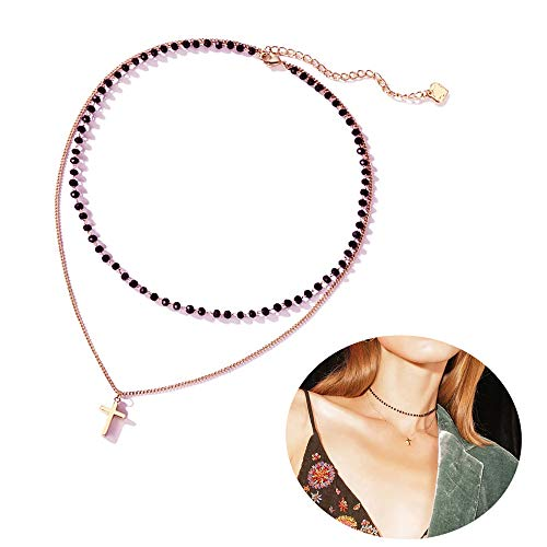 Q﹠YFH Bohemian Golden Coin Multilayer Necklace Retro Layered Handmade Woman Choker Collar Necklace Jewelry Gift (I:Rose Gold Layer Necklace)