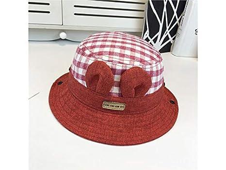 3e8dc69a6cd Baby Decoration Hat Kids Ear Plaid Sun Visor Sun Protection Hat Children  Packable Soft Bucket Cap
