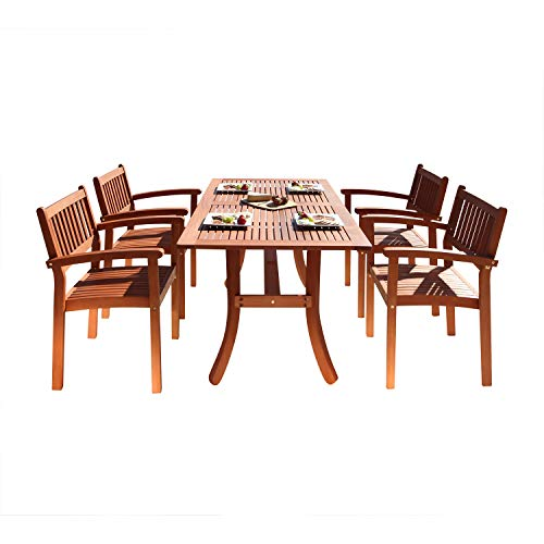 Vifah V187SET3 Bayeux Outdoor 5-Piece Patio Dining Set with Stacking Chairs, Natural Wood