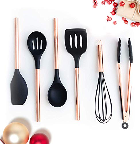 Black Silicone and Copper Cooking Utensils for Modern Cooking and Serving, Stainless Steel Copper Serving Utensils Ideal Spatulas for Non Stick Cookware