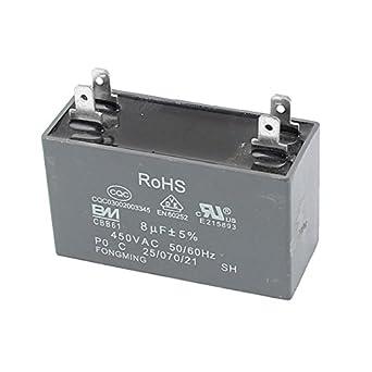 uxcell CBB61 8uF 450 V AC 50/60 Hz Aire Acondicionado Ventilador ...