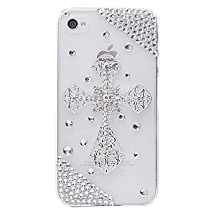 (CASEI)Hi-Q Cross Jewelry Covered Back Case for iPhone 4/4S