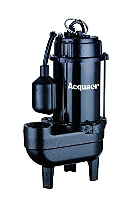 Acquaer 1/2 HP Durable Cast iron Sewage Pump with 10ft. power cord+Piggy back switch.