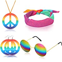 4 Pieces Hippie Dressing Accessories 60s Hippie Costume Set includes Hippie Glasses, Rainbow Peace Sign Necklace, Headband, Hippie Peace Sign Earrings