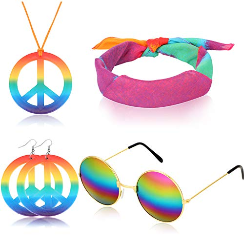 (4 Pieces Hippie Dressing Accessories 60s Hippie Costume Set includes Hippie Glasses, Rainbow Peace Sign Necklace, Headband, Hippie Peace Sign)
