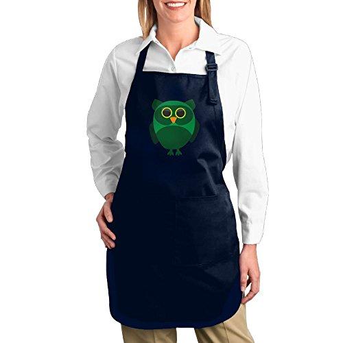 Dogquxio Cartoon Owl Kitchen Helper Professional Bib Apron With 2 Pockets For Women Men Adults Navy