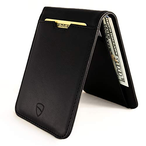 Vaultskin MANHATTAN Slim Bifold Wallet with RFID Protection for Cards and Cash - Top Quality Italian Leather - Ultra Thin Front pocket Holder Designed For Up To 8 Cards and Cash (Black)