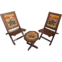 Hindoro Wooden Handcrafted and Handpainted 2 Folding Chairs and 1 Table Set