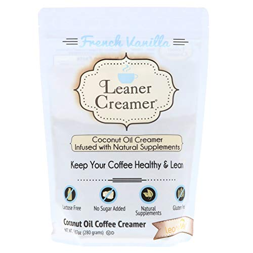 - Leaner Creamer Natural Coconut Oil Based Lactose Free Gluten-Free and Sugar-Free Coffee Creamer Powder Infused with Supplements, Lucsious French Vanilla, 280 Gram