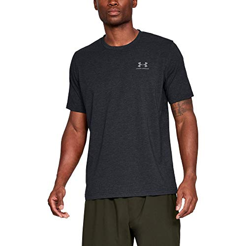 Under Armour Mens Charged Cotton Left Chest Lockup T-Shirt, Black /Steel, Medium