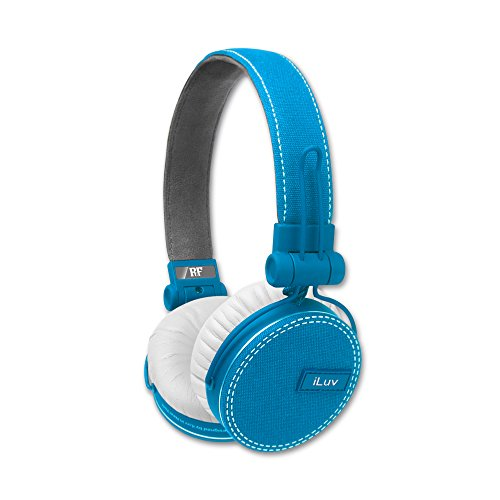 ReF by iLuv - Canvas Fabric Exterior On-Ear Headphones with Incredibly Deep Bass - Perfect match to Fashionable Outfits and Loud Bass Music such as EDM, Hip Hop, Rap, Rock & Roll - Compatible with Apple iPad, iPhone & iPod (Spring Blue)