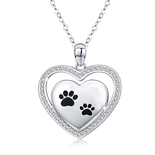 Dog Necklace, S925 Sterling Silver Puppy Dog Pet Paw Print with Bone Love Heart Pendant Necklace for Animal Pet Lovers (Puppy Paw Heart Pendant) (Bone Pendant Necklace)