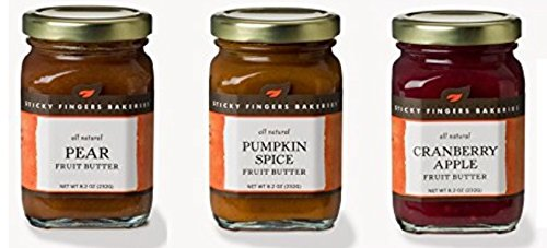 Sticky Fingers All Natural Fruit Butters Pumpkin Spice, Cranberry Apple, Pear Flavors Pack of 3