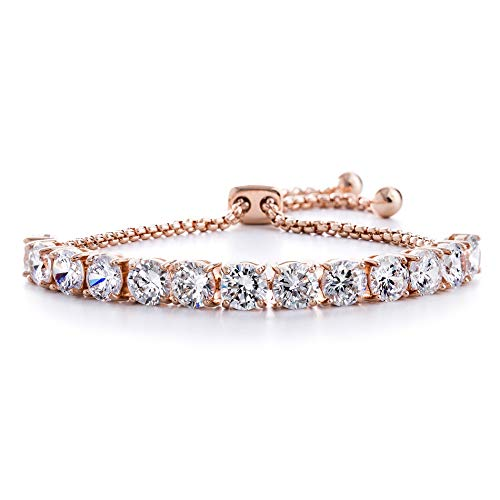 Devin Rose Cubic Zirconia Adjustable Bolo Bracelet for Women in Rose Gold Plated Brass (6mm Pink)