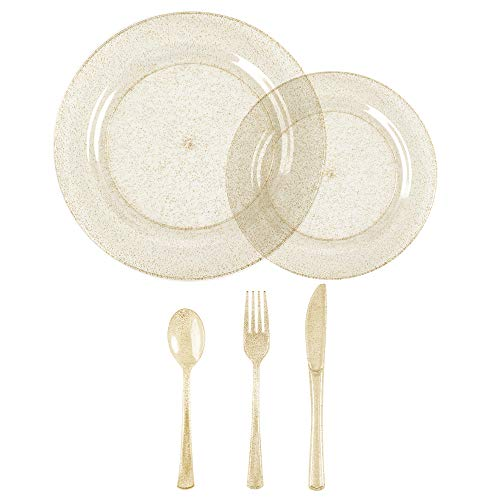 (Seatour 25 sets of disposable plates salad plate cutlery banquet party cutlery set (Golden))
