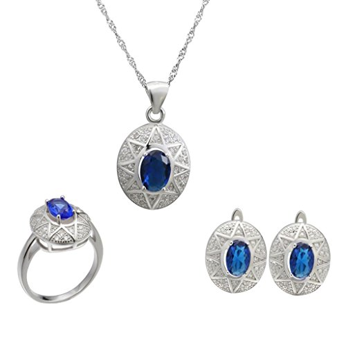 Aooaz Womens Jewelry Set, Silver Plated Blue Oval Crystal Ring Pendant Necklace Earrings Wedding Promise by Aooaz