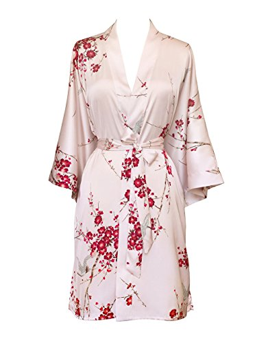 Crane Rose - Old Shanghai Women's Kimono Robe Short - Watercolor Floral, Cherry Blossom & Crane- Rose Quartz,One Size.