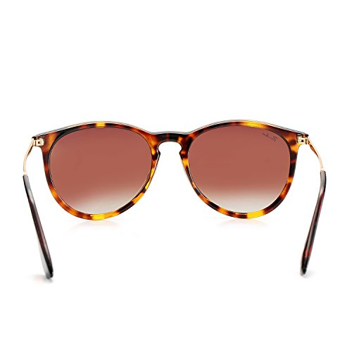 Polarized Sunglasses for Women Classic Round Style 100% UV Protection (Tortoise; Gold/Brown Gradient) by Pro Acme (Image #4)