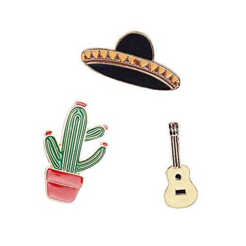 Sombrero Mexican Hat Safety Alloy Brooches For girl Brooch Set(Pack of 3)