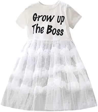 1044917caf Kehen Kid Toddler Girl Summer Outfit Grow Up The Boss Short Sleeve T-Shirt  Lace