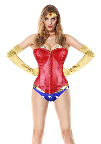 Killreal Women's Plus Size Deluxe Wonder Adult Halloween Cosplay Costume Corset Red Large -