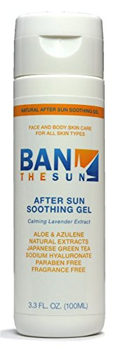 Ban The Sun After Sun Soothing Gel | Aloe, Azulene, Lavender. for All Skin Types, Cools Skin, Reduces Irritation and Redness from Sunburn, Acne, Professional Glycolic and Laser - Ban Razor The