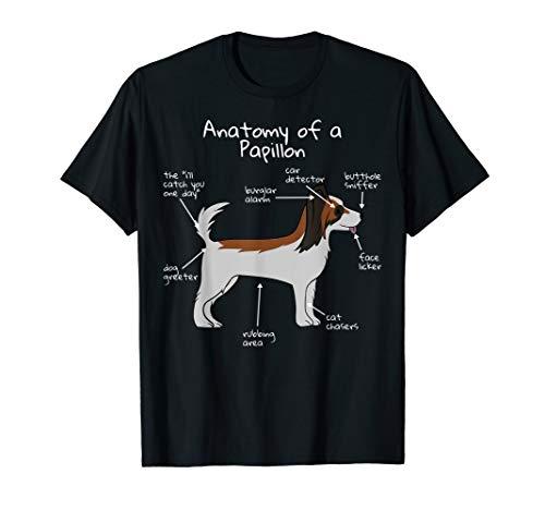 Funny Dog Anatomy Papillon T-Shirt Dog Tee