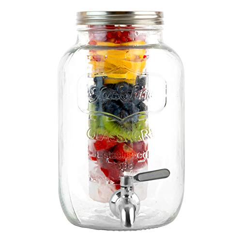 1 Gallon Glass Beverage Dispenser with Ice and Fruit Infusers, Stainless Steel Spigot and Metal Lid, Wide Mouth Mason Jar Drink Dispenser, for Iced Tea, Kombucha Fermenting and more (Jar Beverage Giant Mason Dispenser)