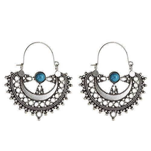 Women Ethnic Hollow Artificial Turquoise Chandelier Drop Dangle Earrings Gift