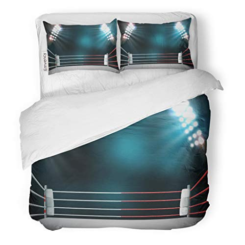 Semtomn Decor Duvet Cover Set Full/Queen Size Stage Boxing Ring Illumination by Spotlights Digital Effect 3D 3 Piece Brushed Microfiber Fabric Print Bedding Set Cover