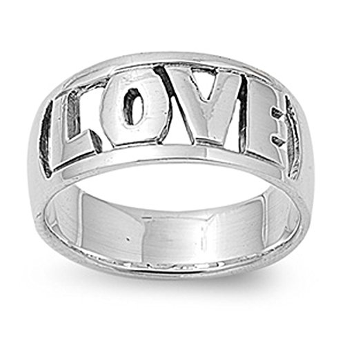 Sterling Silver Women's Word Cutout Love Ring (Sizes 5-10) (Ring Size (Love Cut Out Ring)