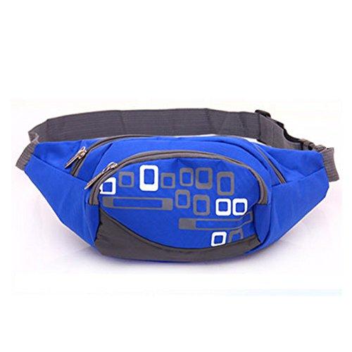 MaxMAxi Water Resistance Nylon Runners Belt Waist Pouch Waterproof Runners Waist Pack for Men and Women (Blue)