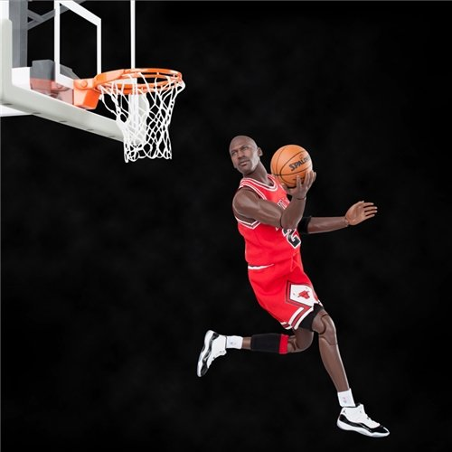 new arrival 17517 dcaba Enterbay Masterpiece x NBA Michael Jordan #23 Away Red ...