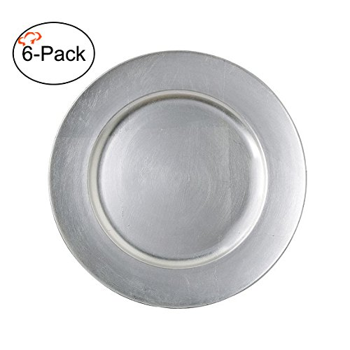 Tiger Chef 13-Inch Silver Metallic Charger Plates, Set of 2,4,6, 12 or 24 Dinner Chargers (6-Pack Silver Chargers Plates)