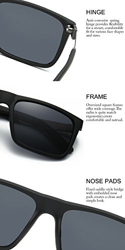 DONNA Trendy Oversized Square Aviator Polarizd Sunglasses Wayfarer Style with Big Unbreakable Frame and Anti-glare Lens D54(Black Lens/Matte-Black arms) by DONNA (Image #3)