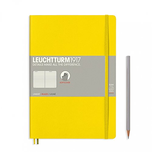"Leuchtturm 1917 Soft Cover Composition B5 Notebook 7"" x 10"", Lemon Yellow, Ruled / Lined"