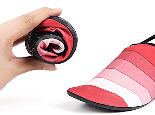LOUECHY Unisex Feinin Mesh Schwimmen Wasser Socken Atmungs Barfuß Haut Schuhe Leichte Yoga Sandalen Indoor Fitness Schuh Schnell Trocknend Surf Wasser Schuhe Bootfahren Rot-gestreift